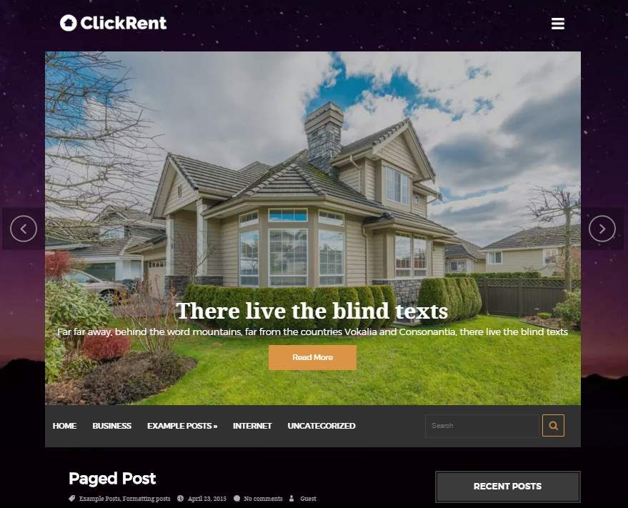 ClickRent | Free WordPress Theme