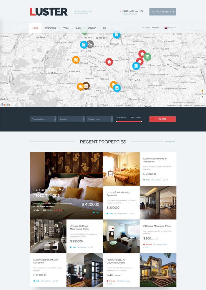 Luster - The Biggest Real Estate WordPress Theme