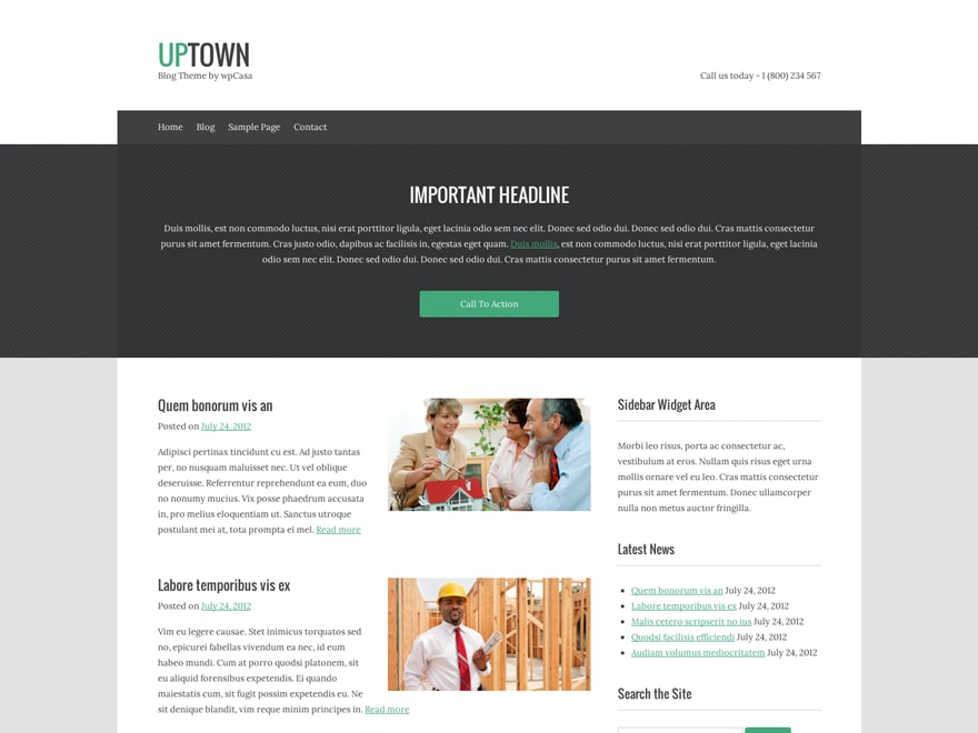 upTown | Free WordPress Template